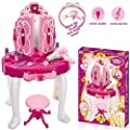 Deluxe Girls Pink Musical Dressing Table Vanity Light Mirror Play Set Toy Glamour Make Up Desk With Stool