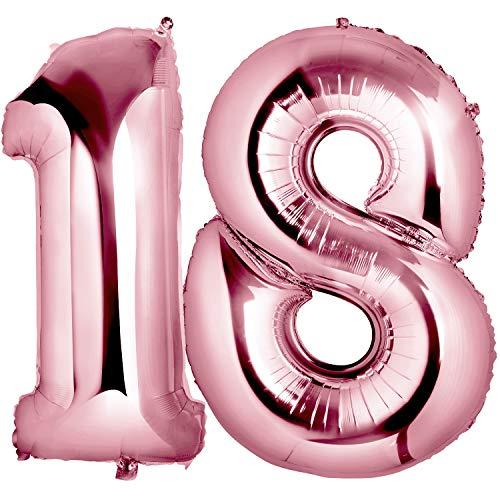 MOOKLIN Globo 18 Oro rosa Decoración Cumpleaños, 40 pulgada Suministros y Decoración Globo Grande de Aluminio para Niñas Mujeres Fiesta Boda Cumpleaños Navidad Reunión Ceremonia
