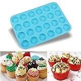 Silikonform, BZLine 24 Cavity Mini-Muffin-Silikon-Soap-Plätzchen-Kuchen Behälter-Form (Blau)