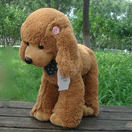 yfkgh VIP Dog Figurine, Puppy Dog   Plush Toy, Poodle Bichon Teddy Dog   doll, Children's Gift Cute@Hellbraun_Groß 40 cm -