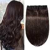 Clip in Extensions Echthaar Haarverlängerung Remy Echthaar 1 Tresse günstig Human Hair Haarverdichtung 40cm-80g(#2 Dunkelbraun)