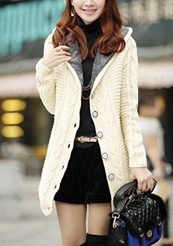 Donna Cardigan Con Cappuccio Inverno Autunno Lungo Giubbotto Maglieria Giacca Elegante Moda Giovane Con Bottoni Manica Lunga Giacche Vintage Tinta Unita Warm Caldo Foderato Cable Knit Maglie Bianco