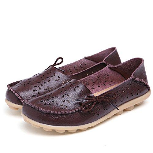 AFFINEST Mocassins Femmes Loisirs Creux-dehors Confort Chaussures Plates Loafers en PU Cuir Chaussures de Conduite Brun