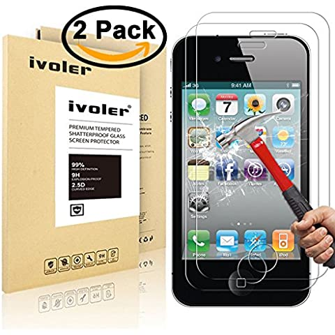 [2 Pack] iPhone 4 / 4S Protector de Pantalla, iVoler® Protector de Pantalla de Vidrio Templado Cristal Protector para Apple iPhone 4 / 4S-Dureza de Grado 9H, Espesor 0,30 mm, 2.5D Round Edge-[Ultra-trasparente] [Anti-golpe] [Ajuste Perfecto] [No hay Burbujas]- Garantía Incondicional de 18 Meses