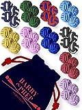10er Set beliebter Farben | Seidenknoten Manschettenknöpfe | Stoff Knoten Cufflinks für Hemden mit Manschetten | Damen Herren | einfarbig zweifarbig