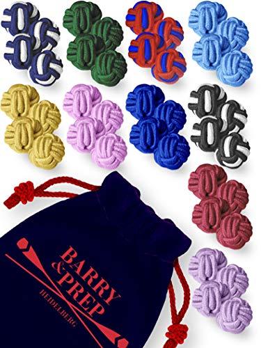 10er Set beliebter Farben | Seidenknoten Manschettenknöpfe | Stoff Knoten Cufflinks für Hemden mit Manschetten | Damen Herren | einfarbig zweifarbig -