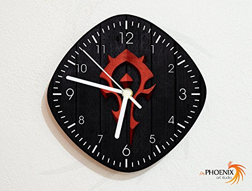 WoW - Horde Emblem - World of Warcraft - Blizzard - PC Console Video Games - Geek Gifts - Custom Name Wall Clock
