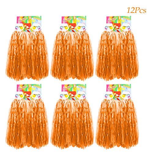 Team Golf Kostüm - Creatiees 1 Dutzend Prämie Cheerleading Pom Poms, 12 Stücke Kunststoff Cheerleader Pompons Handblumen mit Ring Design zum Sport Cheers Ball Dance Kostüm Nacht Party Team Spirit (Orange)