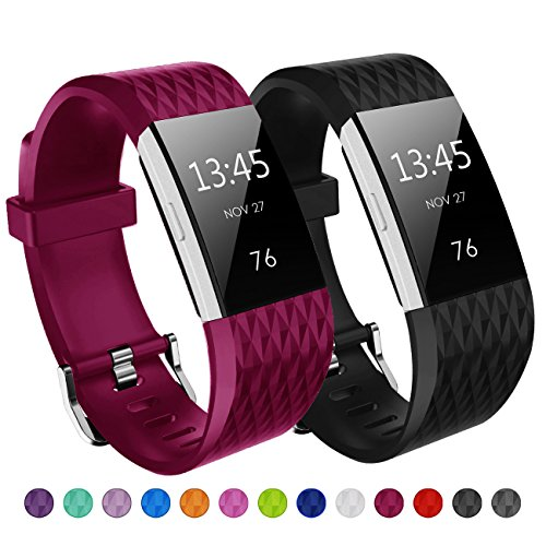 Kutop für Fitbit Charge2 Armband, Charge 2 Armband TPU Weiches Silikon Sports Ersetzerband Diamant Muster Fitness Verstellbares Uhrenarmband für Fit Bit Charge 2
