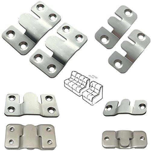 2x Edelstahl Möbelverbinder Sofa Bettverbinder Couchverbinder Metallverbinder Groß (54x30mm)