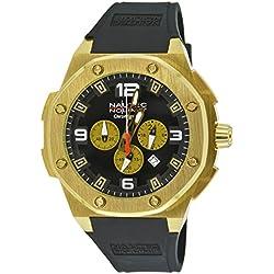 Nautec No Limit Sailfish SF QZ/RBGDGDBK - Reloj para hombres, correa de goma color negro