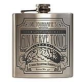 E-Volve Personalisiert Edelstahl Hochwertiger Flachmann Hip Flask 6oz Für Alkohol Whisky / Vodka / Gin - Silber (Gin Nerve Tonic)