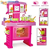 Childrens Kids Pink Electronic Play Kitchen Toy Cooking Oven Cooker Set