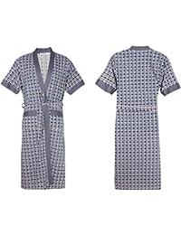 Serviette de bain Peignoir d été à manches courtes en coton pour homme  Pyjamas de chemise de nuit à motif géométrique Douche essuyer… af0cfece4d52