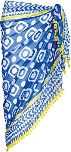 ESMARA® Damen Pareo mit Bommeln (weiß, blau, gelb gemustert, ca. B 110 x L 180 cm)