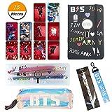 YEeyuTrwd Viele kleine Geschenke | BTS GOT7 TWICE WANNA ONE | Kartenaufkleber + Schreibwarenetui + Federmäppchen + Schlüsselbund + Notizbuch + Zylinderstift | Awesome School Supplies Kit(BTS)