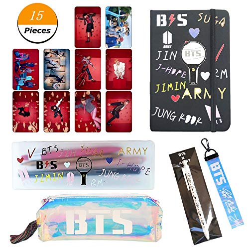 YEeyuTrwd Viele kleine Geschenke | BTS GOT7 TWICE WANNA ONE | Kartenaufkleber + Schreibwarenetui + Federmäppchen + Schlüsselbund + Notizbuch + Zylinderstift | Awesome School Supplies Kit(BTS) -