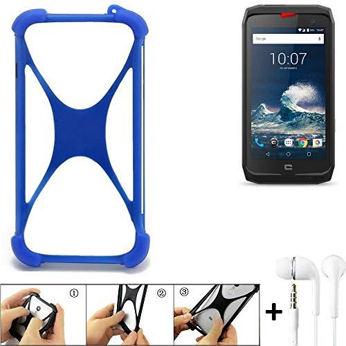 K-S-Trade Bumper Crosscall Action-X3 Schutzhülle Handyhülle Silikon Schutz Hülle Cover Case Silikoncase Silikonbumper TPU Softcase Smartphone, Blau (1x), Headphones