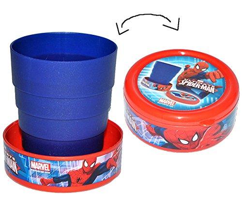 Unbekannt Spider-Man  - 3 in 1 - klappbarer Trinkbecher / Faltbecher - Zahnputzbecher / Malbecher - incl. Deckel - Reise Becher - für Kinder - Campingbecher / Jungen..