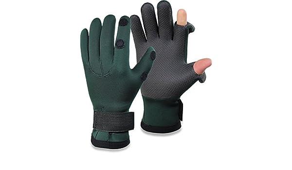 eingeschnittene Finger M-XXL Rutschfeste Neoprenbeschichtung Outdoor Angeln Fischen normani Winter Anglerhandschuhe aus Titanium-Neopren mit Fleece