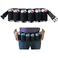 Cinturón Mucher, soporte portátil para latas de cerveza o refrescos, capacidad para 6 bebidas, apto para acampadas, senderismo, fiestas al aire libre(negro)
