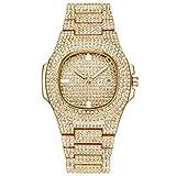Clode  moda bussiness cintura in acciaio calendario orologio pieno di diamanti orologio da polso