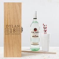 Personalised 18th Birthday Gifts for Boys Alcohol Box - Engraved Wooden Wine or Spirits Presentation Box for girls men him - PLEASE NOTE: ALCOHOL BOTTLE NOT INCLUDED