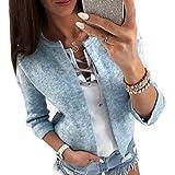 QHGstore Frauen-Strickjacke 3/4 Hülse Friont geöffnete Oansatz dünner gestrickter beiläufiger Frühlings-Herbst-Strickjacke-Kurzschluss-Mantel Hellblau L