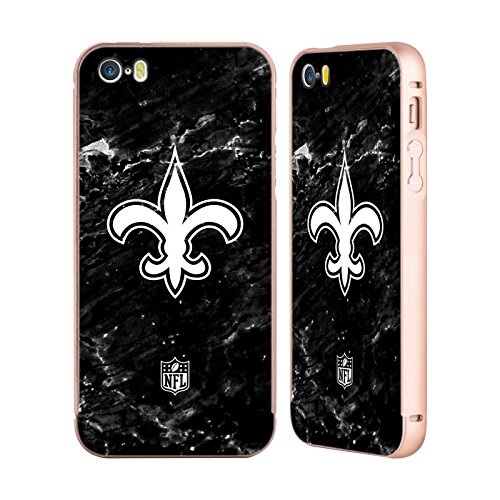 Ufficiale NFL Righe 2017/18 New Orleans Saints Oro Cover Contorno con Bumper in Alluminio per Apple iPhone 5 / 5s / SE Marmo