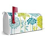 BANJADO US Mailbox/Amerikanischer Briefkasten 51x22x17cm/Letterbox Stahl weiß/mit Motiv Kräuterwiese, Briefkasten:ohne Standfuß