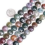 Sweet & Happy Girl's Store Kettenstrang mit Perlen aus indischem Achat zur Fertigung von Schmuck, 38,1°cm, Achat, Mehrfarbig, flache Perle (Achat, 12 mm)