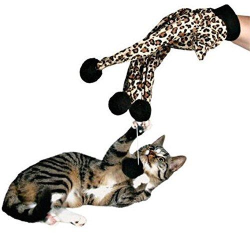 Demiawaking 1pcs Giocattoli Interattivo per Gatto Domestico Guanto Modello Leopard con Palline Giocattolo Teaser per Gattini