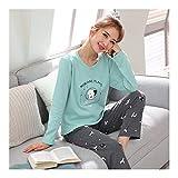 HAOLIEQUAN Pyjamas Set Frauen Mädchen Baumwolle Langarm T-Shirt Hosen Set Weibliche Frühling Herbst Nachtwäsche Nachthemd Femme M-3Xl, M
