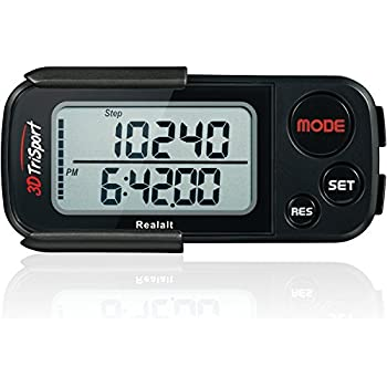 3DTriSport Supreme Quality Walking 3D Pedometer with Clip and Strap, and Free eBook   30 Days Memory, Extremely Accurate Step Counter, Walking Distance Miles and Km, Calorie Counter, Daily Target Performance Monitor, Exercise Time - Multi-Function Pocket Pedometer with Advanced Tri-Axis Technology and Calories Burned. (Stealth Black)