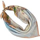 PB-SOAR Damen Seidentuch Seidenschal Bandana Halstuch Nickituch aus 100% Seide 52 x 52cm (Muster 1)