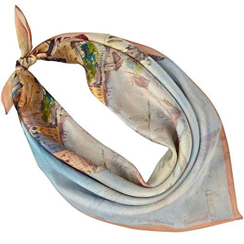PB-SOAR 100% Silk Women's Square Scarf Bandana Neckerchief 52cm x 52cm, 14 Patterns Available