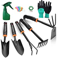 TOORGGOO Gardening Tool Set, High Carbon Steel Heavy Duty Hand Garden Tool Set with Soft Rubberized Non-Slip Ergonomic Handle, with Gloves Spray Bottle 9 Piece Gardening Tools Gifts for Women Men.