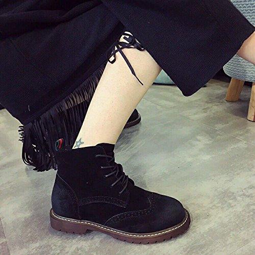 &zhou Stivaletti donna autunno/inverno stivali stivali di cuoio piatto caldo moda di avvio marea Martin tempo libero selvaggio Black