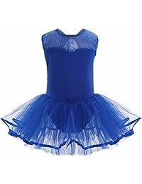 FEESHOW Tutu Ballet Enfant Fille Justaucorps de Danse Classique sans Manches  Dos nu Coton Justaucorps de ed09f19e977