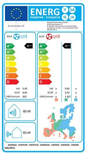 KlimafirstKlaas Inverter Klimasplitanlage 3,5 kW Kühlen und Heizen, EEK: A