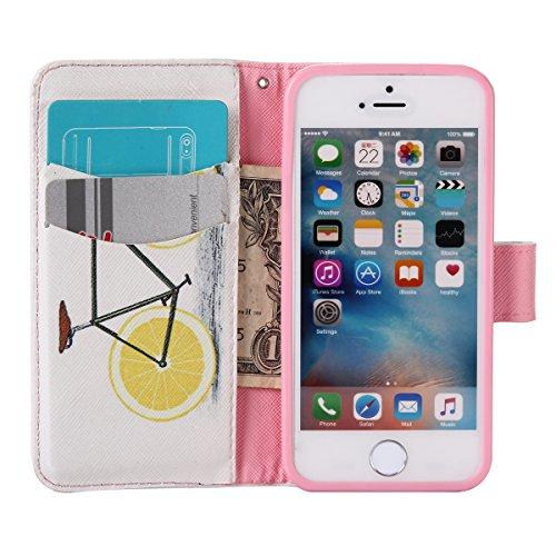 Coque Cuir Apple iPhone 5 / 5s / SE, Fermeture Aimantée de Motif Imprimé Étui Housse en Cuir Ultra-mince Avec La Fonction Stand pour Apple iPhone 5 / 5s / SE Étui +Bouchons de poussière (9BW) 14