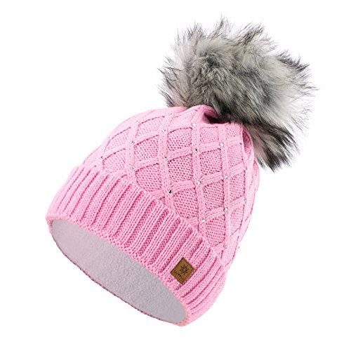 Romens Ltd Gorro Beanie De Invierno para Mujer Decorado Con Cristales Brillantes Grande Pompón, de Estilo Esquí y Snowboard (Pink Crystals)