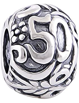 Charm zum 50. Geburtstag,925er Sterling Silber, alsGeschenk verpackt