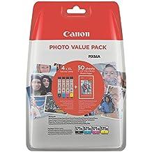 CANON CLI-571XL C/M/Y/BK + Foto Papier Cyan Magenta Gelb Schwarz XL Tintentanks + 4x6 Fotopapier PP-201 50Blatt Vorteilspack Blister