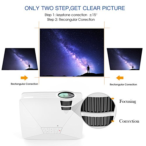 DBPOWER GP15 mini beamer, portable, 1800 lumen LED video projector, multimedia home theatre, LCD video beamer full HD supported, 1080P HDMI USB SD VGA AV for TV DVD consoles, games, iPad, Android white White Mini 20.8*16.8*7.8cm