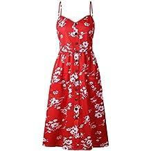 Femmes Robes Summer Floral Bohème Spaghetti Strap Bouton Bas Swing Midi Dress Avec Poches 27 Couleur