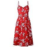 Vestidos de Mujer Summer Floral Bohemia Correa de Espagueti Abotonado Vestido Midi Swing con Bolsillos 27 Color