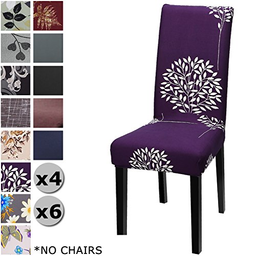 YISUN Modern Stretch Dining Chair Covers Removable Washable Spandex Slipcovers for High Chairs 4/6 PCs Chair Protective Covers (Purple + Tree Pattern, 4 PCS)