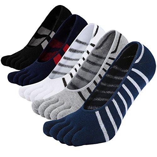 No Show Zehensocken Premium Baumwolle Fünf Finger Socken für den Lauf Athletic EU Größe 38-44 ()