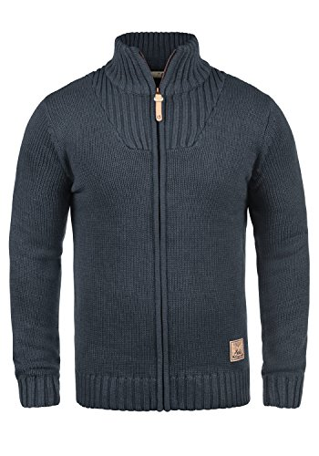 SOLID Poul Herren Strickjacke Cardigan mit Stehkragen aus hochwertiger Baumwollmischung, Größe:L, Farbe:Insignia Blue Melange (8991) (Strickjacke Wolle Winter)